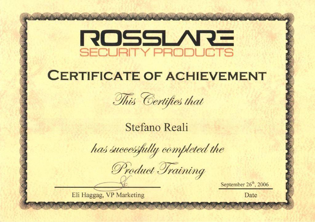 Certificazione conoscenza prodotti Rosslare